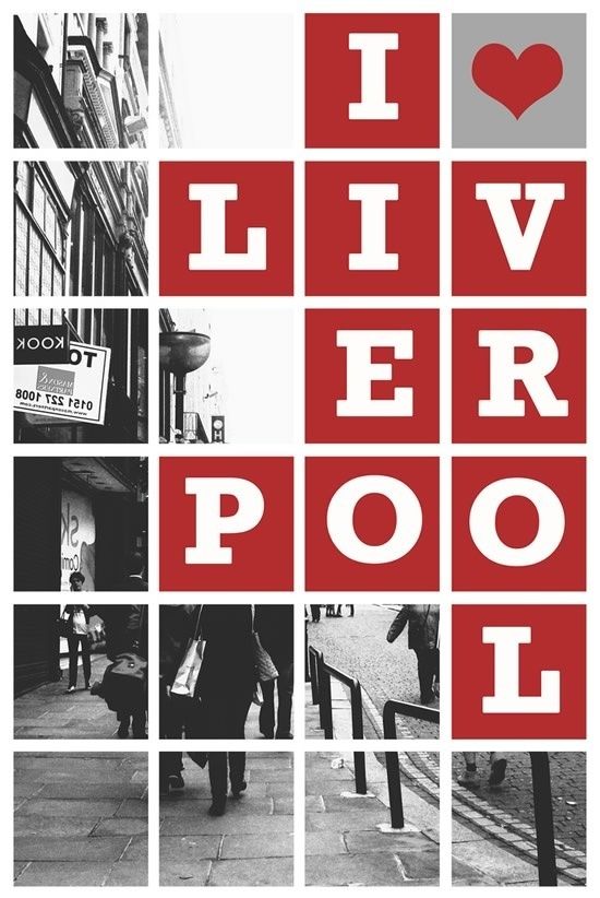 LIVERPOOL RED BLOCK LETTERS ON BLK N WHITE PHOTOGRAPH