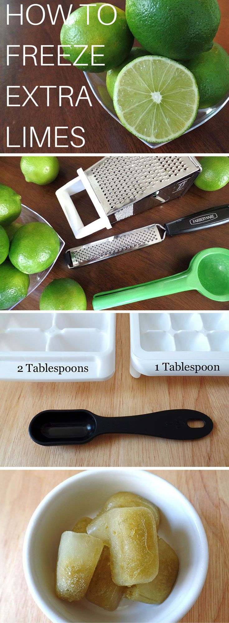 Don't know what to do with those ageing limes in your produce drawer?  Follow this simple guide for how to freeze extra lime juice (and zest) and make sure your limes don't get wasted.