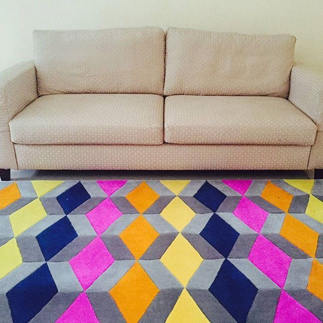 Colourful Geometric Pattern Area Rugs 2.4 M x 1.6 M Acrylic mix with Wool Hand Tufted This Lovely Area Rugs lying down beautifully in one of our customer living room. Thank you for trusting and using our service @dewinanurdini,  looking forward for your next order #rugs #rug #arearug #customrug #interior #designinterior #homedecor #carpet #jualkarpet #bikincarpet #homeinterior #geometric #colourful #livingroom #homeware #handtuftedrugs #handtufted #indo #bandung #localcreative…