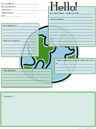 FREE Earth Themed Letter Template for @Compassion International - example of sponsorship letter