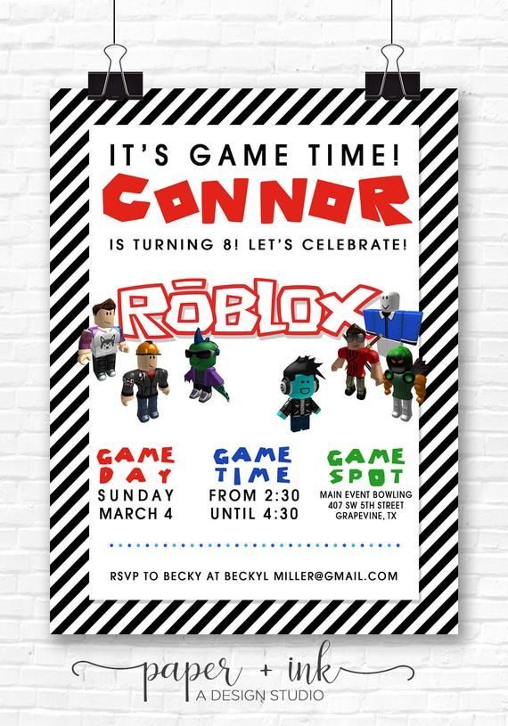 Roblox Birthday Invitation