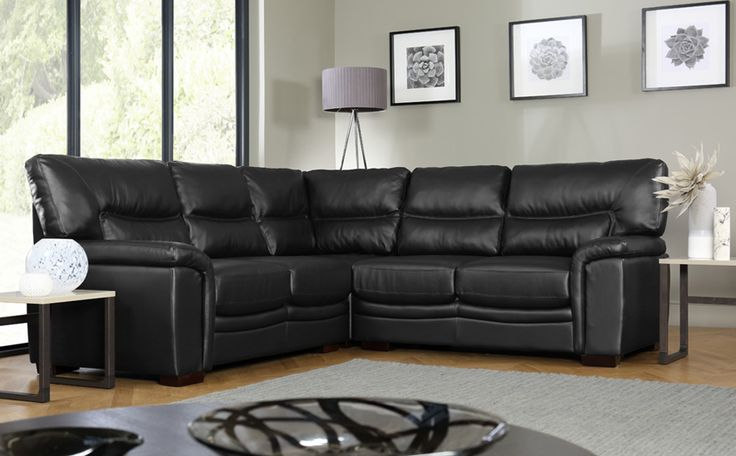 Nelson Black Leather Corner Sofa