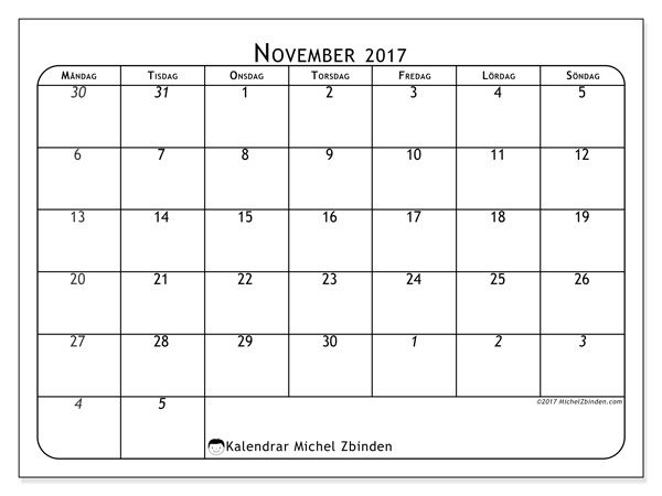 Kalender för att skriva ut november 2017 - Maximus