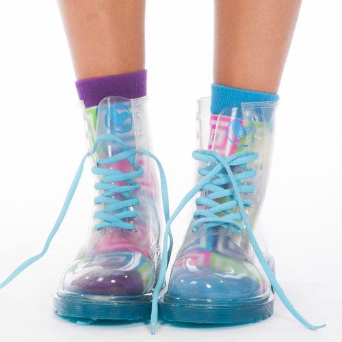 Blue bubble boots