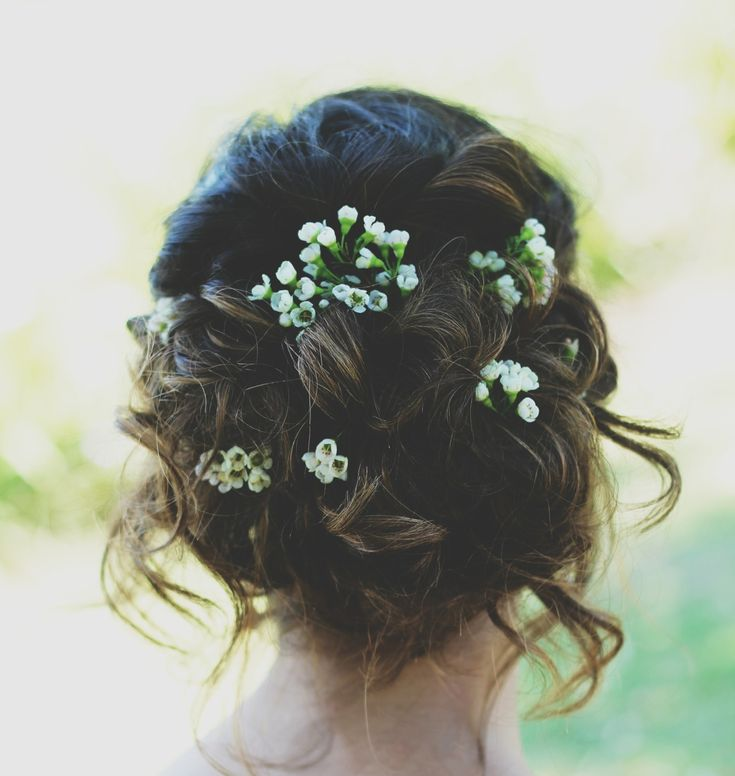 Prom hair, updo, loose, flowers, prom, natural, bohemian, brown hair, winter formal, hairstyles