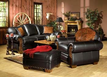 Dillon Black Leather Western Sofa Western Sofas And