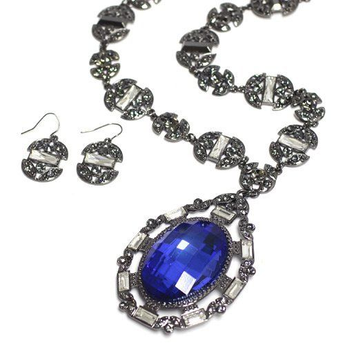 "Gemstone Pendant Necklace Set; 18""L Chain And 3.5""L Pendant; Gunmetal; Blue Chunky Gemstone And Grey Rhinestones; Lobster Clasp Closure; Matching Earrings Included; Eileen's Collection. $45.99"
