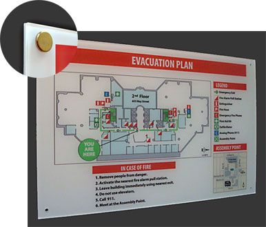 Building Evacuation Plans, Emergency Evacuation Maps and Sign Holders, Photoluminescent Exit Signs