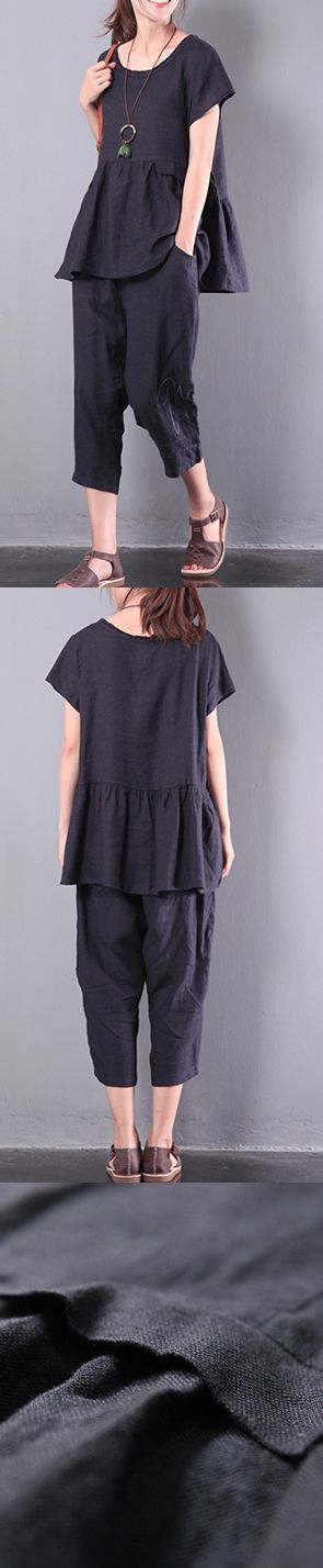 black patchwork linen blouse casual loose pant tops and pants two pieces