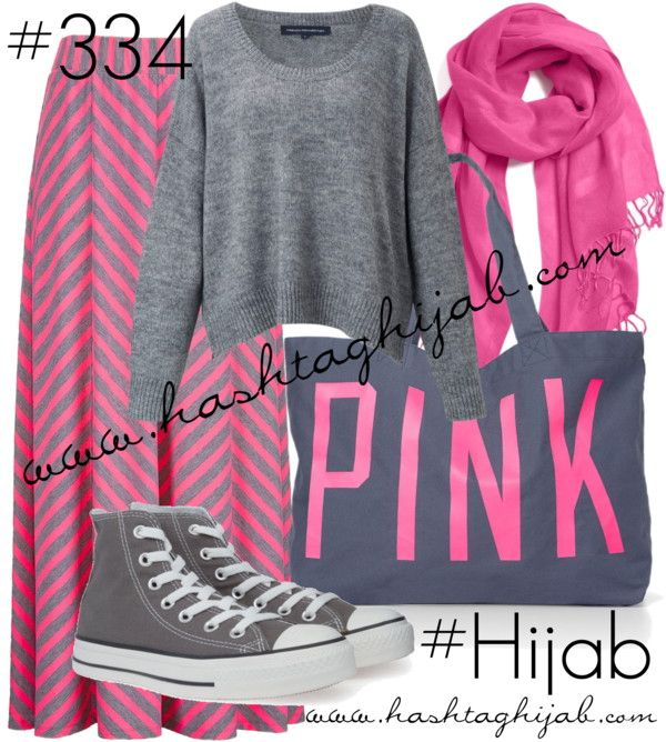 Hashtag Hijab Outfit #334 love this color combo #pinkandgrey