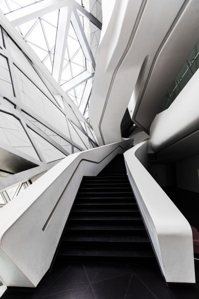 Guangzhou Opera House - Interior Stairs - The interior of the Guangzhou Opera House are in the signature Zaha Hadid style.
