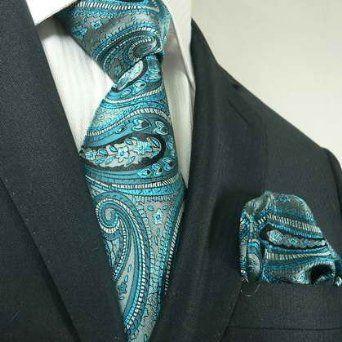 Amazon.com: Landisun 40L Teal Blues Paisleys Mens Silk Tie Set: Tie+Hanky &Plastic Hook: Clothing