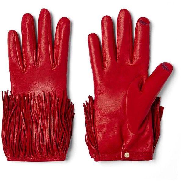 DIANE VON FURSTENBERG Fringe Leather Gloves (€210) ❤ liked on Polyvore featuring accessories, gloves, ferrari red, leather gloves, diane von furstenberg, red gloves and red leather gloves