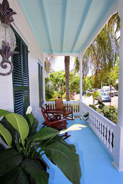 Blue porch  ceiling. Pineapple coach light.                                         920 Fleming Street 069 by Key West Properties, via Flickr