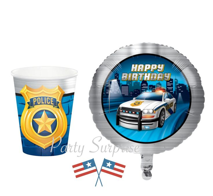 Police Party Supplies Hot & Cold Cups Balloons and more Kids Police Birthday Party Police Graduation Retirement Party Rescue Workers party