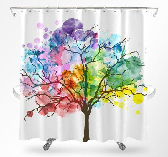 Tree Shower Curtain Watercolor Shower Curtain Rainbow