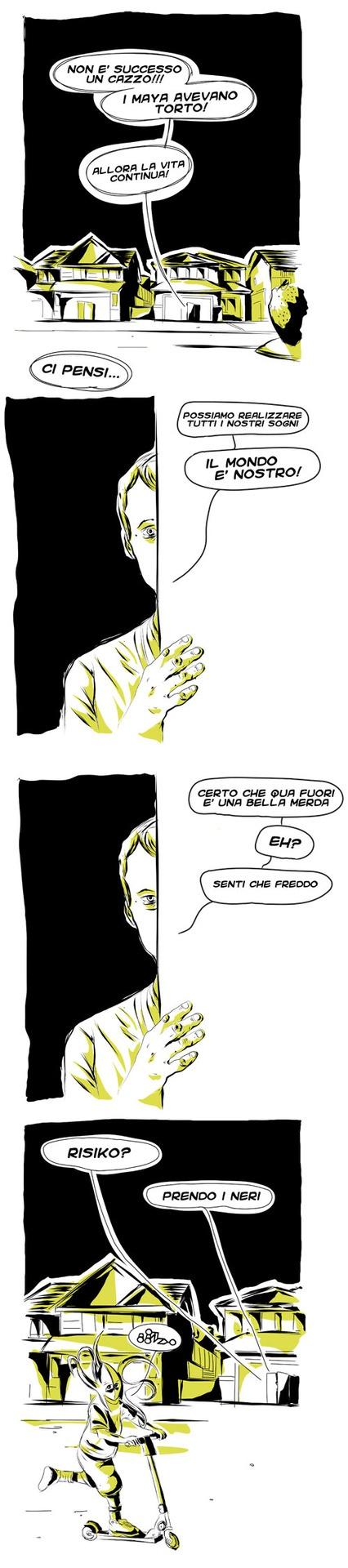 Fine del mondo 2012 #maya #bambino #alieno #risiko #ottimismo #finedelmondo #calendario #comics #vignette #fumetti #giallo #nero #illustration #fun