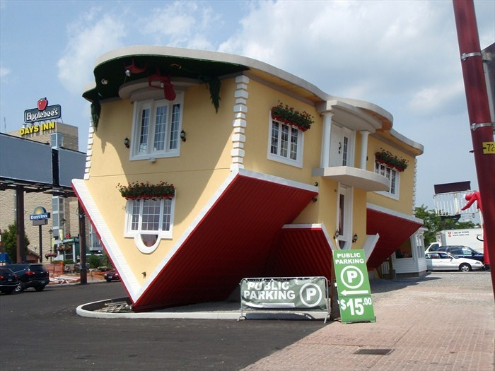 Upside Down House is located on Oneida Lane, Niagara Falls, Ontario. In the Clifton Hill tourist area.