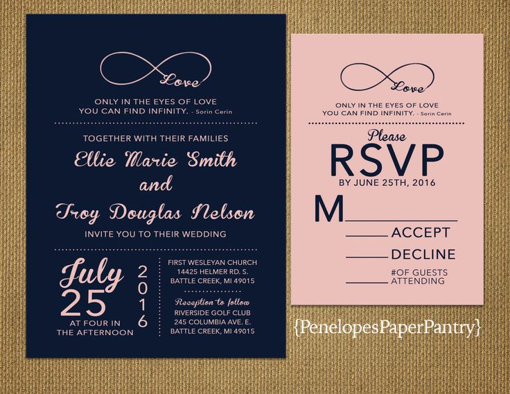 Navy and Blush Wedding Invitations,Infinity Love Symbol,Elegant,Sophisticated,Simple,Spring,Summer,Opt RSVP Card,Customizable With Envelopes by PenelopesPaperPantry on Etsy https://www.etsy.com/listing/263880479/navy-and-blush-wedding