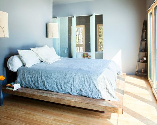 Contemporary Bedroom With Untreated Wooden Bed Frame Designs Also Blue Wall Paint Color Also