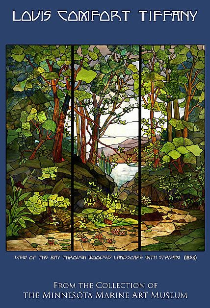 """View of the Bay Through Wooded Landscape With Stream,"" Louis Comfort Tiffany window, 1896 - The Minnesota Marine Art Museum"