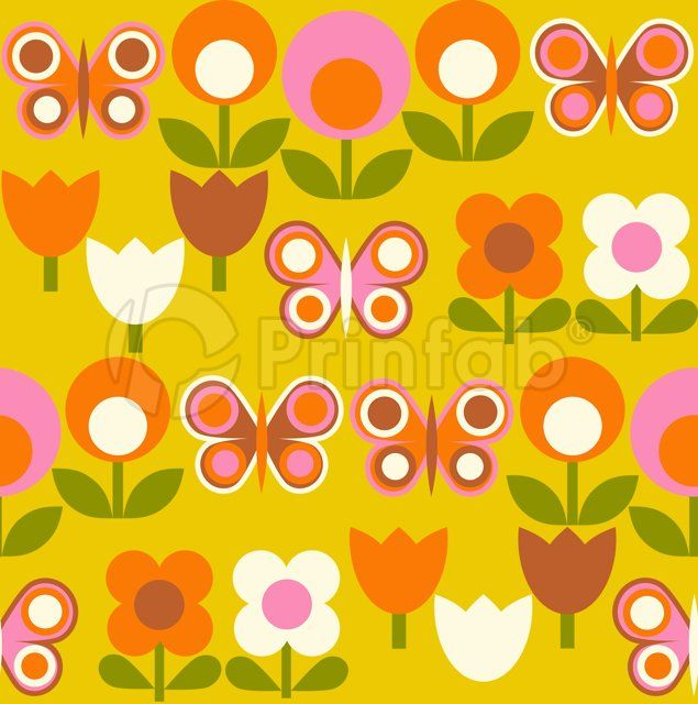 """Spring Garden on Mustard"" fabric from Prinfab®. Credit: alice apple. URL: https://prinfab.com/product/view/Ab6PTq. Description: A fun retro mod floral print with bright butterflies on a mustard background.. Keywords: mod, 60s, 70s, pop, kids, childrens, butterfly, flower, floral, daisy, girls"