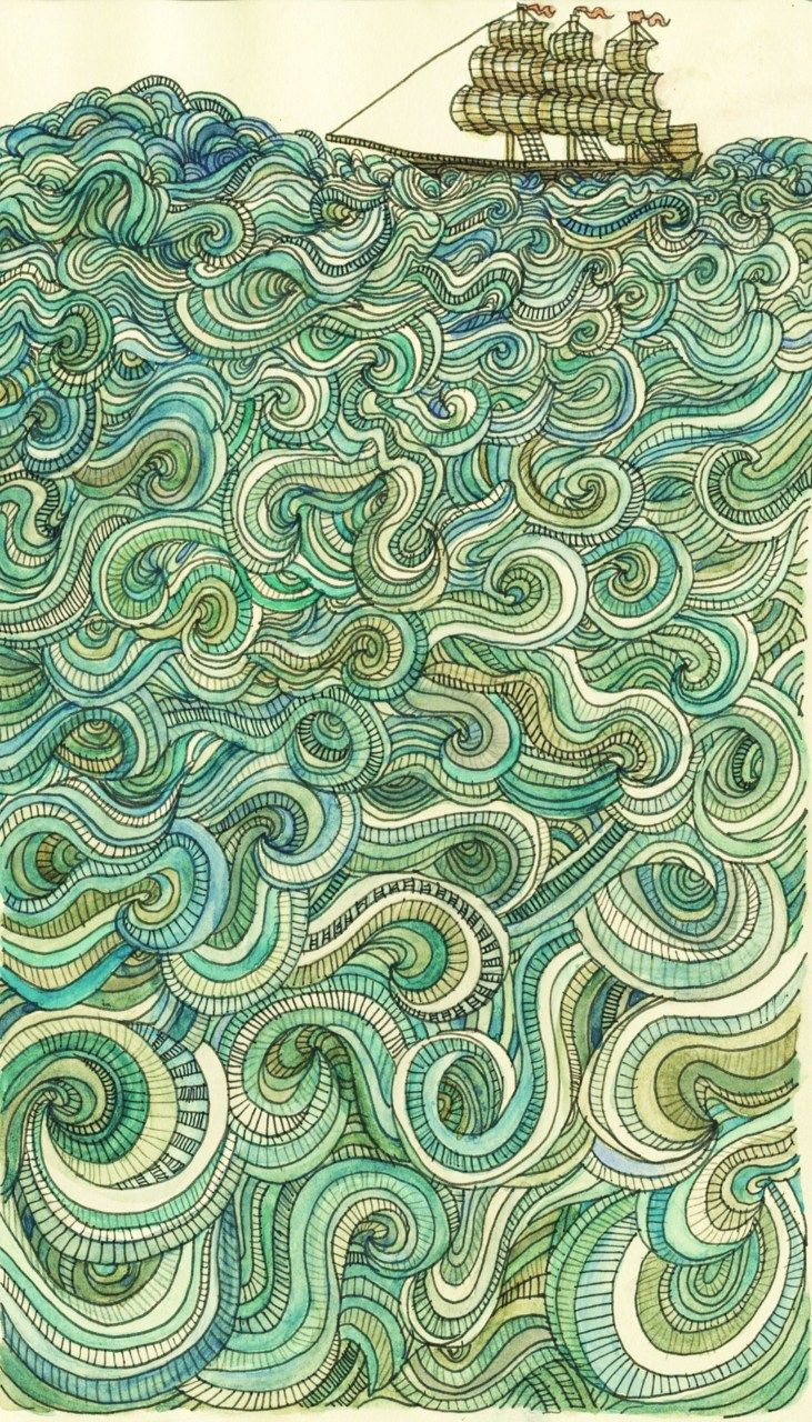 "Amelia Langford: ""Sail Away""  Moleskin sketchbook Entry  Prismacolor pen and watercolor.  Spring 2011."