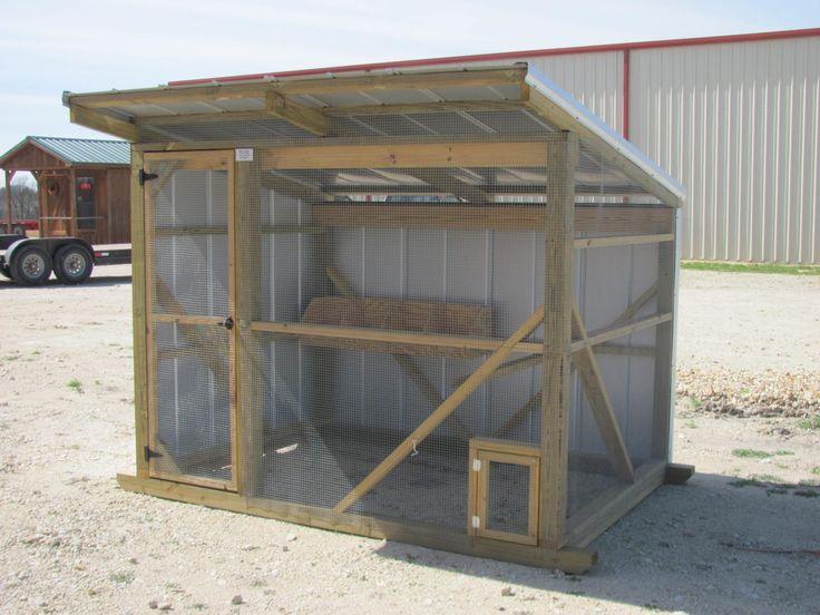 6x8 chicken coop in galvalume stall sliding doors