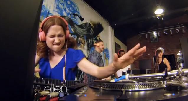 Click here to see Ellie Kemper learn to DJ on Ellen.