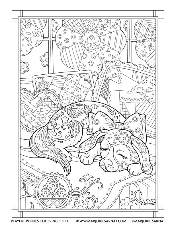 Quilt Snooze Playful Puppies Coloring Book By Marjorie Sarnat