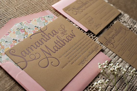 Rustic Calligraphy Letterpress Wedding Invitation - SAMPLE