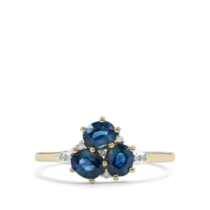 Gemporia Australian Blue Sapphire Ring With Diamond In 10k Gold 0 97ct Blue Sapphire Rings Diamond Blue Sapphire Diamond