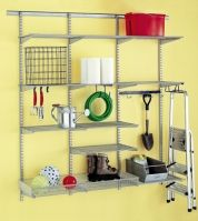 $$—$$$ Pros: Shelf standards hang from a single track affixed to wall studs, so these systems can bear the weight of heavier objects; standards, hooks, shelves, and organizers can be relocated easily. Cons: You must make sure the track is level so that the standards hang straight; they're best for garage walls that are finished and plumb. Shown: elfa; containerstore.com