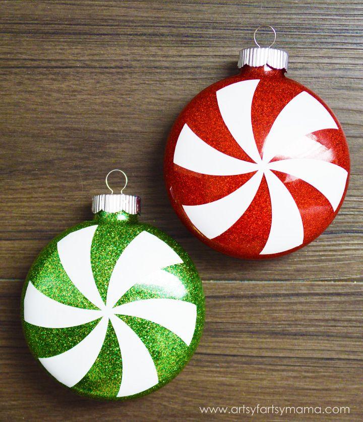 Glitter Peppermint Ornaments at artsyfartsymama.com #ExploreCricut