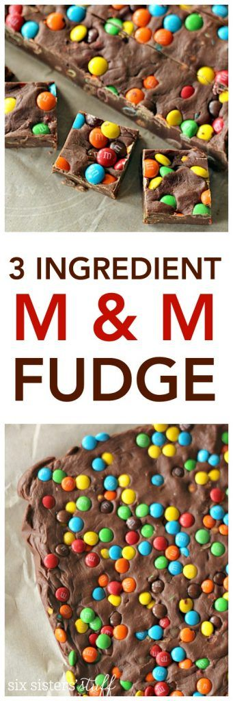 3 Ingredient M&M Fudge on SixSistersStuff.com | Easy dessert recipe | Quick Snack | Kid Approved treat idea