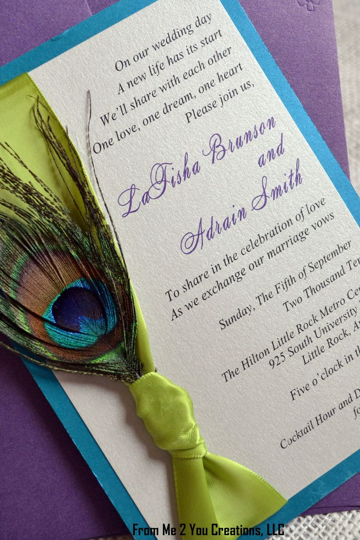 SAMPLE: Metallic Peacock Wedding Invitation with Satin Ribbon and Coordinating Inserts. $9.00, via Etsy.