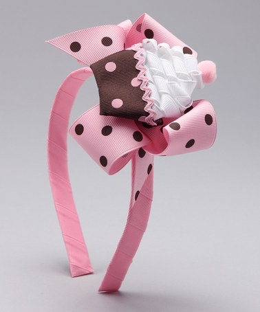 Picture Perfect Pink & Brown Cupcake Headband