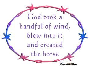 Horse Decals, Horse Stickers & Graphics for horse trailers  Horse Sayings God took a handful of wind, blew into it and created the horse decal.