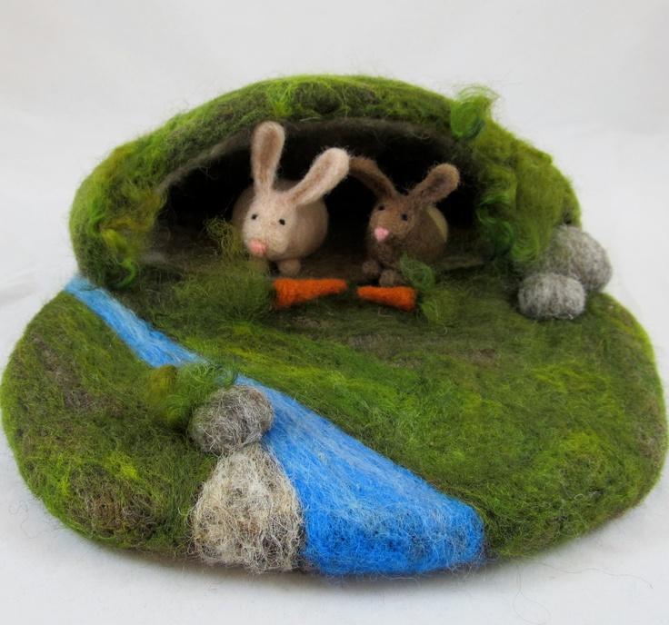 Needle Felted Play Mat - Rabbit Warren. $60.00, via Etsy.