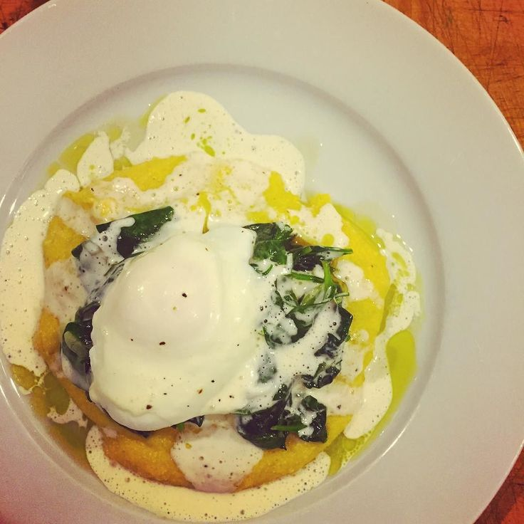 Eggs florentine over polenta. #dinner by nailart_nailedit