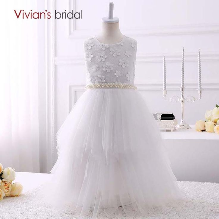 Vivian's Bridal Beaded Flower Girl Dresses Ball Gown Tiered Tulle First Communion Dresses for Girls Graduation Dresses Kids