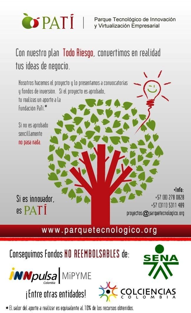 Tramitamos proyectos en Colombia, por resultados, Fundacion Parque tecnológico de Virtualización empresarial, Ibague Tolima