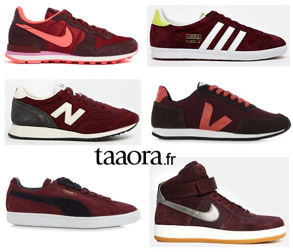 Baskets couleur bordeaux Nike New Balance Adidas