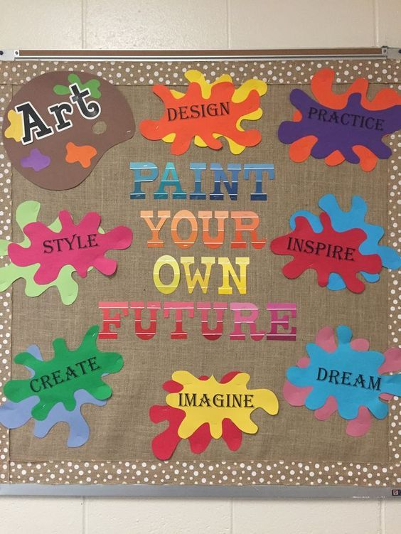 Artistic bulletin board. Paint Your Own Future:
