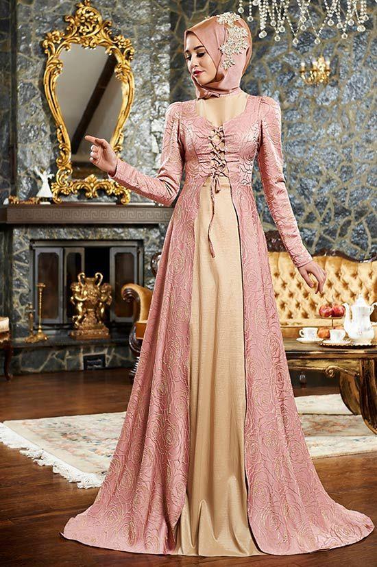 Mevra-Peri-Abiye-Elbise-Pudra   Tesettürlü Gelinlikler ve Gelinlik Modelleri