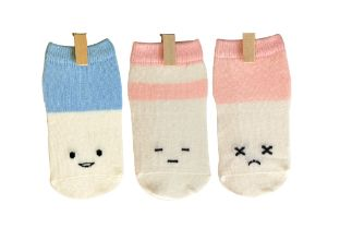 Petites Pattes - Faces Socks in Pink