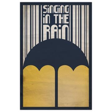 Just a singinggg in the rain: Umbrellas, Megan Romo, Singing, Prints Design, Art Prints, Graphics Design, Rain Posters, Rain Prints, Minimal Movie Posters