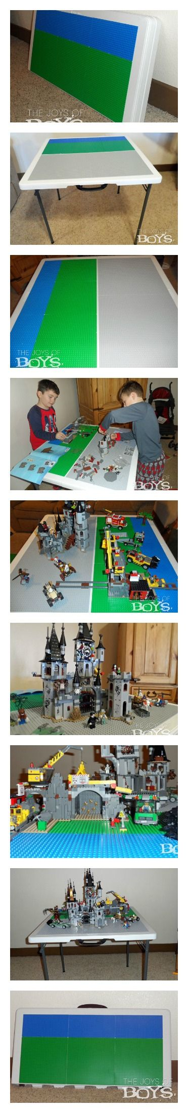 How to make your own easy storable Lego table from thejoysofboys.com.  Easy to fold and store when not being used. #Lego #activitiesforboys #gifts
