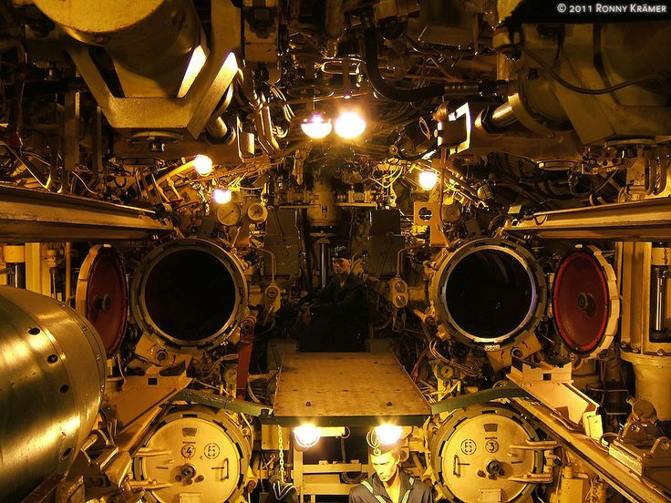 The interior of the WWII German U-boat U-434, located in the harbor of Hamburg.