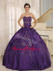 Purple Embroidery Quinceanera Dress With Sweetheart In 2013